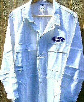 """100% Cotton Goodwood Revival Vintage Retro Ford Badged Overalls 48-50"""" Chest"""