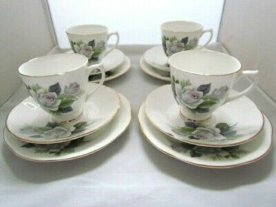 Clare Bone China Tea Cup Saucer and Side Plate Rose Pattern SET OF 4