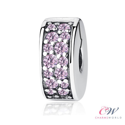 Clip Charm Pink Crystal Pave Genuine 925 Sterling Silver Stopper💞 2 for £17.99