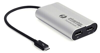 Plugable Thunderbolt 3 Dual Monitor Adapter - USB-C to DP for Windows