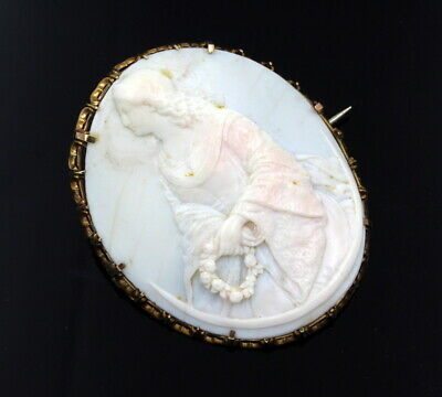 Antique 14K Solid Gold Large Carved Curved Shell Cameo Brooch #7129-1