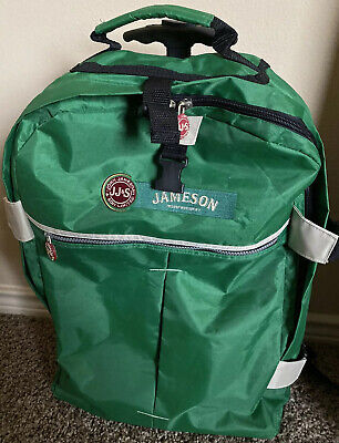 Jameson Irish Whisky Official Backpack W/ Wheels Luggage Roller Bag Green EUC