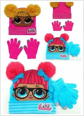 LOL Surprise Dolls Girls Winter Knitted Pom Beanie Hat Gloves ( Pink & Blue)