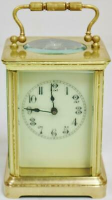Antique French 8 Day Classic Brass Timepiece Carriage Clock Platform Escapement