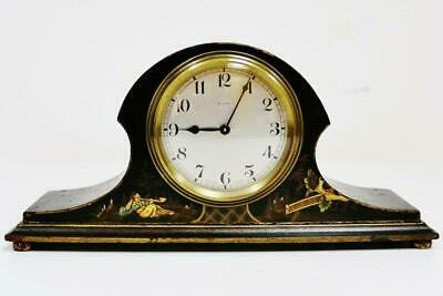 Small Antique English 8 Day Chinoiserie Decorated Mantel Clock Floating Balance