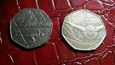 Set of 2 Royal mint 50p coins-commonwealth games/Team GB olympics