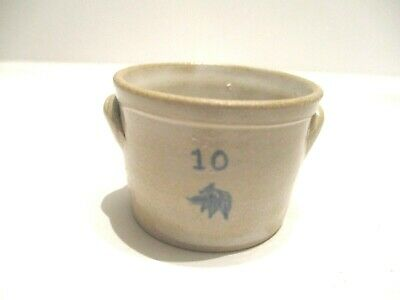 Miniature Gray Hand Crafted Pottery Crock Pot with Side Handles  #4