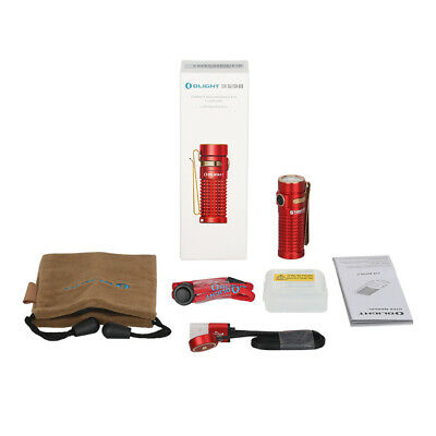 OLIGHT S1R-II Baton Rechargeable Side-Switch EDC Flashlight, Red,1000 Lu.