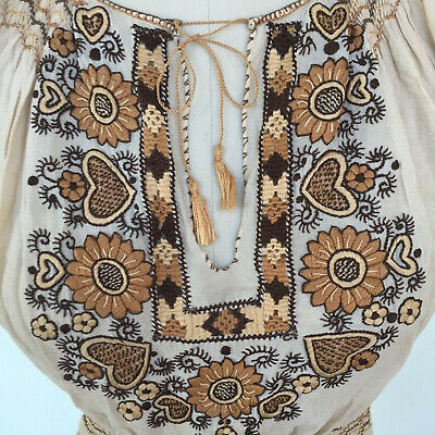 Vtg Hungarian Blouse S-M Embroidered Hand Made Hungary Authentic Cream Color