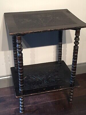 Naive Victorian Ebonized Hand Carved Bobbin Leg Small Side Table