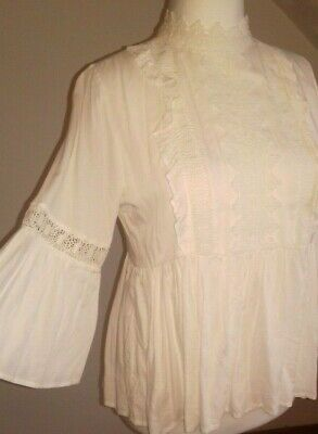 RIVER ISLAND top size 14 cream lace Victorian blouse ruffle boho bell sleeve
