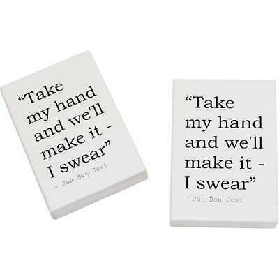 2 x 45mm Love Quote By Jon Bon Jovi Erasers / Rubbers (ER00012450)