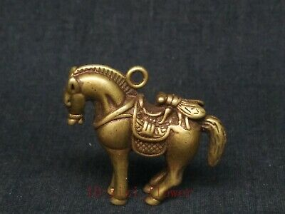 Collection Ancient Chinese Copper Carving Horse Statue Pendant Decoration Gift