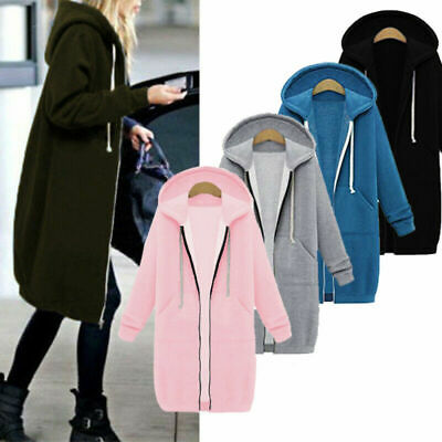 Plus Size Winter Long Sleeve Zip Up Hooded Hoodies Jacket Jumper Cardigan Coat