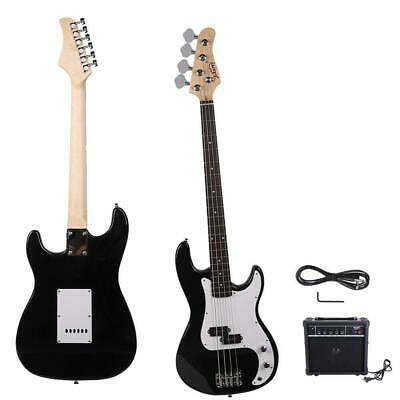 New Black Glarry Basswood 20 Frets 4 Strings Electric Guitar Bass with AMP