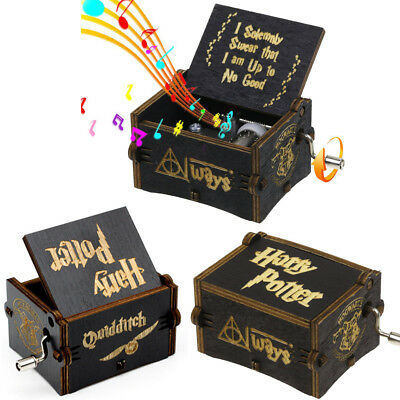 Black Harry Potter Music Box Engraved Wooden Music Box Interesting Toy Kids Gift