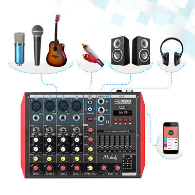Mini BT Usb 4/6 Channel Studio Audio Mixer Digital DJ Sound Mixing Console N1Y0