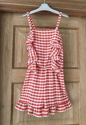 NEXT *10y GIRLS ORANGE CHECK Summer Holiday Playsuit OUTFIT DRESS 10 YEARS