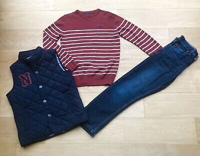 NEXT *10y BOYS JEANS JUMPER TOP & GILET OUTFIT AGE 10 YEARS