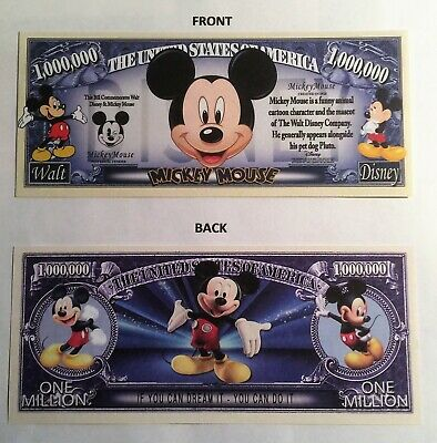 RARE: Micky Mouse $1,000,000 Novelty Note, Cartoons Buy 5 Get one FREE