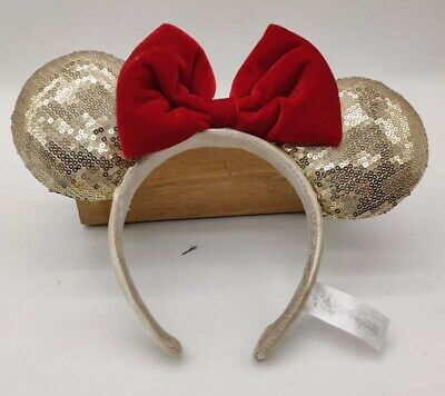 HONG KONG Disney Parks Gold Red bow Minnie Mouse Sequins Ear Headband Ears