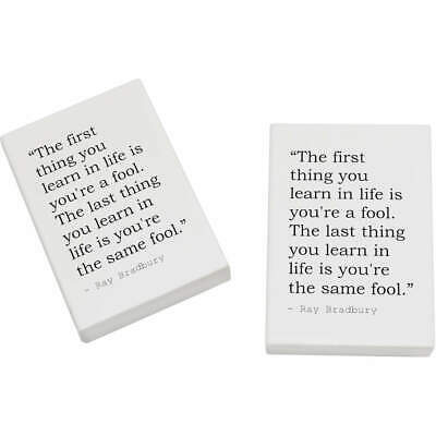 2 x 45mm Quote By Ray Bradbury Erasers / Rubbers (ER00010911)