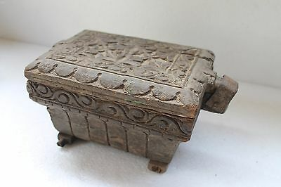 Antique Old Hand Carved Wooden Fully Carved Kitchenware Spice Masala Box NH3242