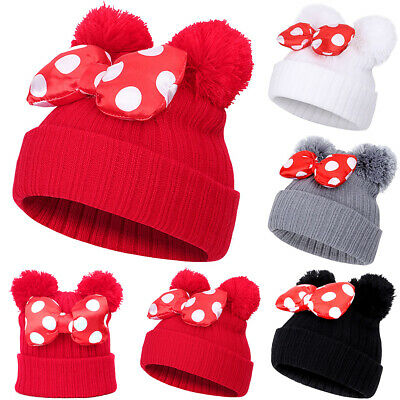 Baby Girls Kids Minnie Mouse Pom Pom Hat Bobble Bowknot Beanie Knitted Winter