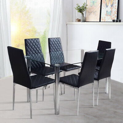 Clear Glass Top Dining Table Chairs Kitchen Bistro Rectangular Unit Faux Leather
