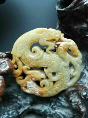 Old Chinese antique Jade hand-carved Beast Statue Pendants Amulet~feng ren