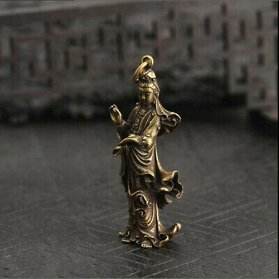 1pcs Old Collection Chinese Handwork Brass Guanyin Bodhisattva Pocket Statue