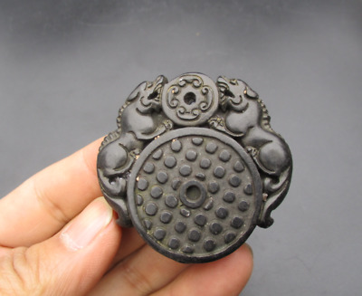 Old China,hongshan culture,jade,stone,black magnet,Double beast,Amulet Pendant
