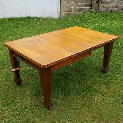 Victorian Arts & Crafts Style Oak Extending Dining Kitchen Table C1900