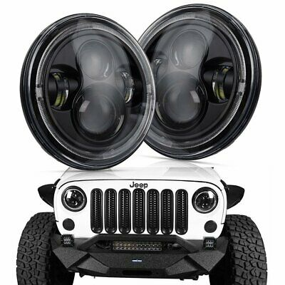 7 inch 120W CREE Round LED Headlights Jeep Wrangler TJ JK 97-17 Halo Angel Eyes