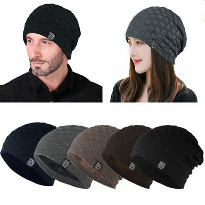 Men Ladies Warm Knit Slouch Beanie Hat Winter Fashion Solid Color Fur Fleece Cap
