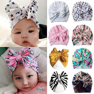 UK Baby Girls Floral Bow Turban Hat Toddler Kids Head Wrap Hijab Headband Cap