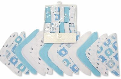Baby Boy Wash Cloths Towel Flannel Wipes Pack of 12 Blue