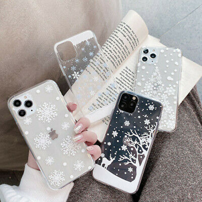 For iPhone 11 Pro Max XS XR XS X 8 7 6S Plus Christmas Snowflake Soft Clear Case