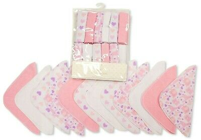 Baby Girl Wash Cloths Towel Flannel Wipes Pack of 12 Pink Flowers