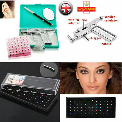 Professional Steel Ear Nose Navel Body Piercing Gun Studs Tool Set Rhinestone UK