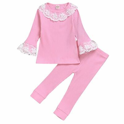 Toddler Kids Baby Girls Clothes Lace Ruffle Top T-shirt Pants Leggings Outfit UK