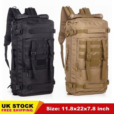 50L Tactical Military Backpack Molle Hiking Rucksack Shoulder Bag Black/Brown UK