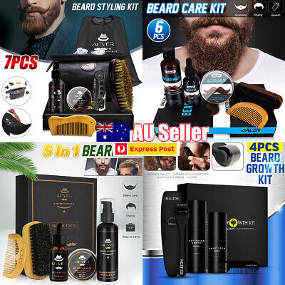 4/5/6/7Pcs/Set Beard Care Growth Kit Comb Brush Oil Balm Grooming Styling Clean