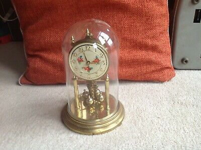 Vintage Kieninger & Obergell 400 Day German Anniversary Clock with glass dome,