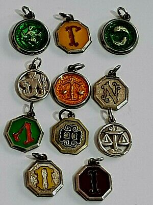 Fantastic Lot Of 11 Vintage Silver Pendants Zodiac And Letters