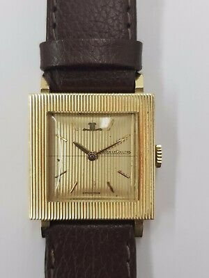 18ct Yellow Gold Jaeger Le Coultre Watch On A Brown Leather Strap
