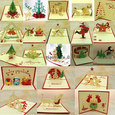 3D Christmas Cards Pop Up Greeting Handmade Xmas postacard vintage Funny Boxed