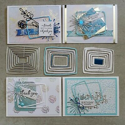 Shopaperartz NESTED LAYERED UNEVEN RECTANGLES FRAMES BIRTHDAY CUTTING DIES