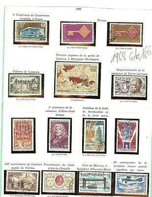 Timbres France Annee Complete 1968 N° 1542 A 1581 Obliteres