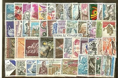 Timbres France Annee Complete 1973 N° 1737 A 1782 Obliteres